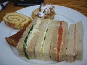 Sandwiches and cake at the Wallace Restaurant