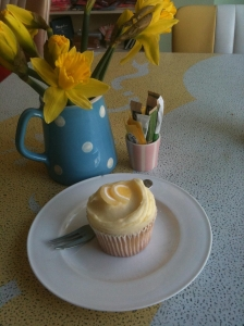 Primrose Bakery lemon frosted cupcake with lemon decoration