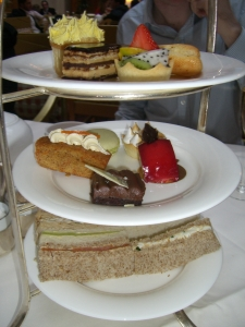 Selection of finger sandwiches and miniature cakes at the Landmark Hotel