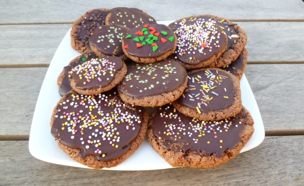 Nigella Christmas chocolate cookies with chocolate glaze and sprinkles made by Naomi Longworth