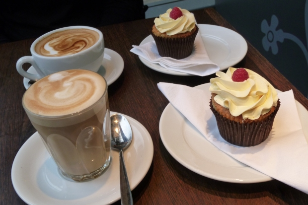 Passionfruit frosted cupcakes and flat white and latte by Hannah Carmichael