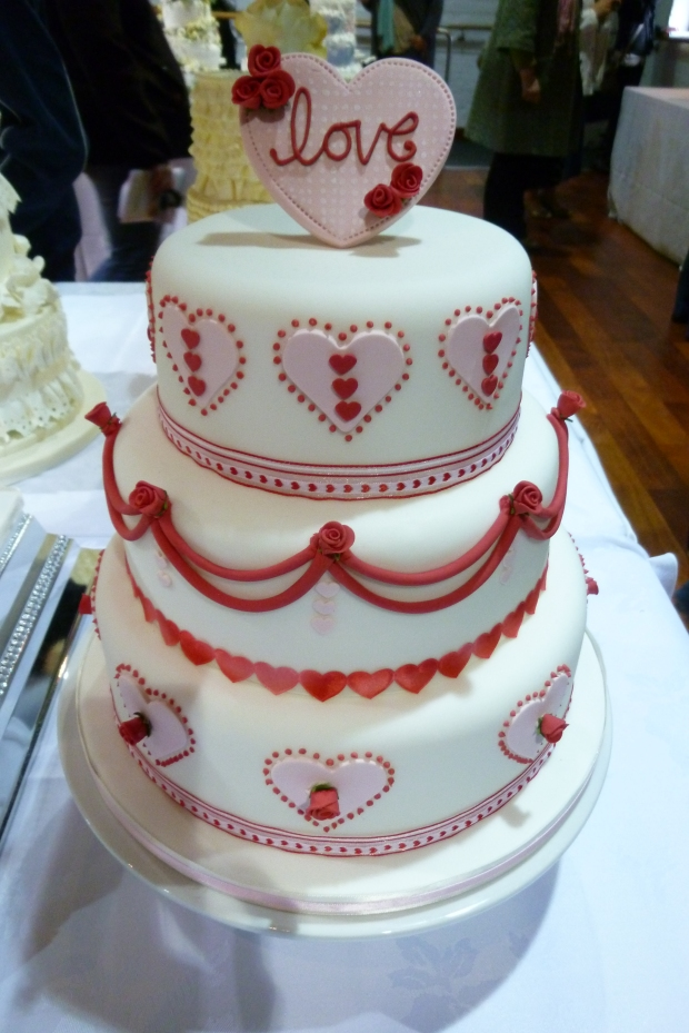 hearts and love wedding cake by The Pretty Cake Company, photo by Naomi Longworth