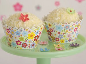 Pretty flowers cupcake wrappers from Just Bake