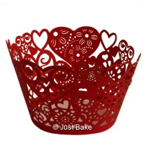 Red heart cupcake wrappers_Just Bake
